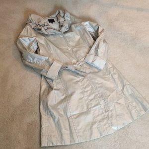 Hilary Radley Silver Waxed Cotton Raincoat. Sz 10.
